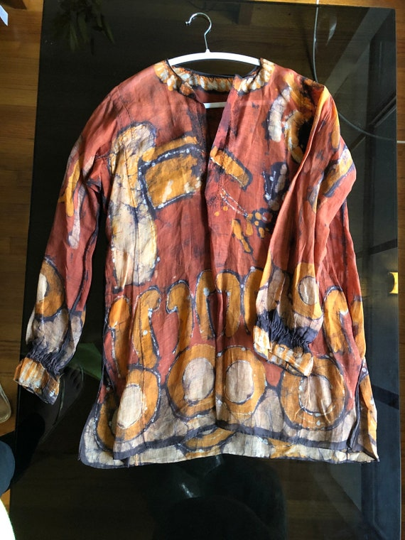 Stiff hand painted linen vintage tunic shirt