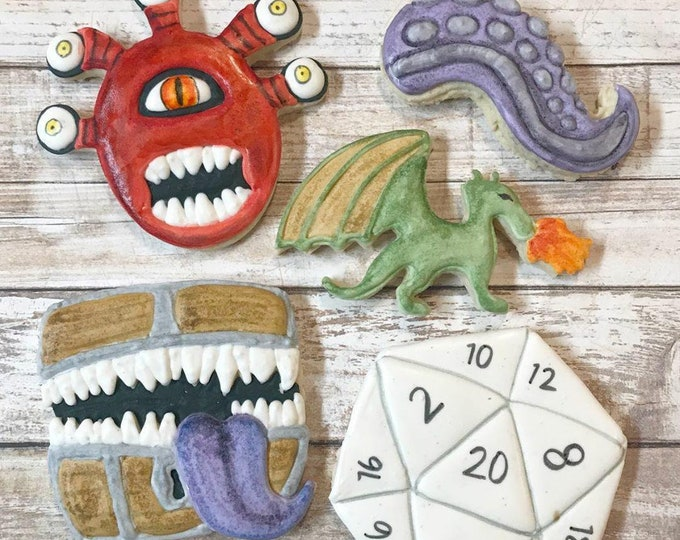 Featured listing image: Tabletop Gaming Inspired Cookie Cutters Set I Dragon I Tentacle I Mimic Chest I D20 Die I