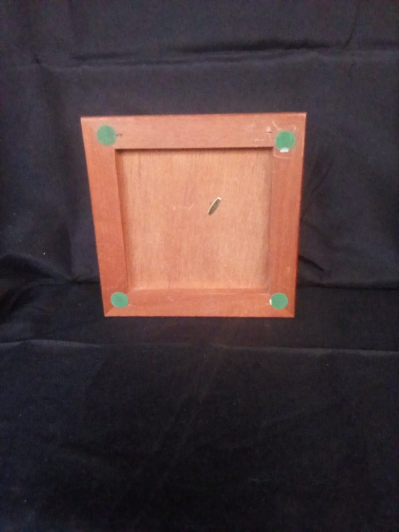 Vintage Square wood jewelry box girl with apples