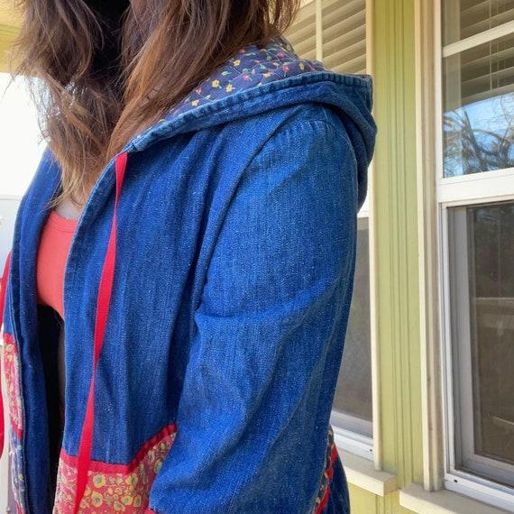 1970s Vintage Patchwork Quilted Denim Jacket - image 3