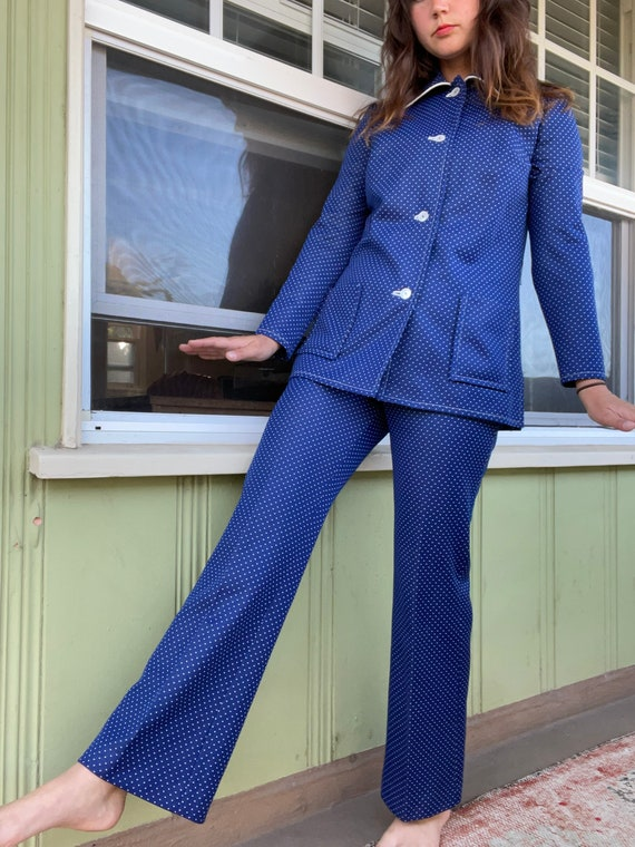 1970s Vintage Two Piece Polka Dot Pant Suit - image 1