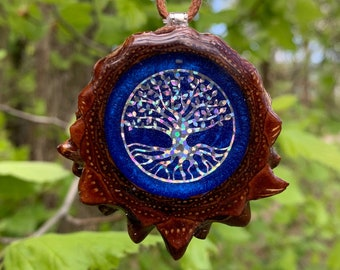 Labradorite /& Crushed Opal with Seed of Life Pinecone Pendant Necklace Sacred Geometry Crystal