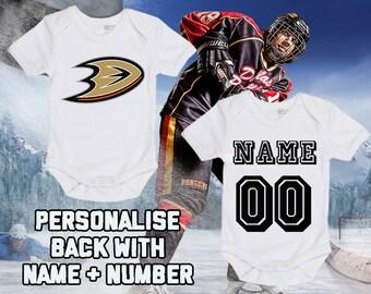 740c98695 NHL Anaheim Ducks Personalised BabyGrow One Piece Bodysuit Vest Hockey