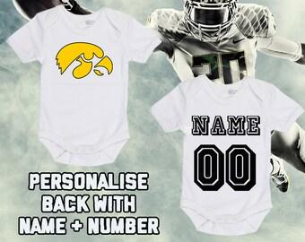 5c1f9fa44d7 NCAAF Iowa Hawkeyes Personalised BabyGrow One Piece Bodysuit Vest College  Football