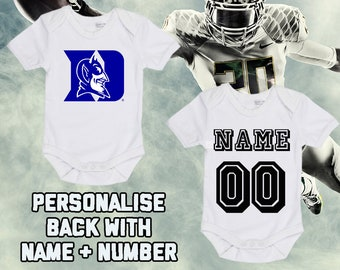 b802e64b0 NCAAF Duke Blue Devils Personalised BabyGrow One Piece Bodysuit Vest  College Football