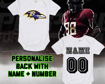 7090619c9 NFL Baltimore Ravens Personalised BabyGrow One Piece Bodysuit Vest Football