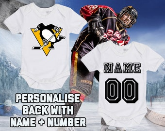 e5a6a34c NHL Pittsburgh Penguins Personalised BabyGrow One Piece Bodysuit Vest Hockey