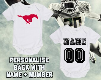 ce18a0a9 NCAAF SMU Mustangs Personalised BabyGrow One Piece Bodysuit Vest College  Football