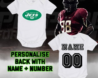 74e3abcdf NFL New York Jets Personalised BabyGrow One Piece Bodysuit Vest Football