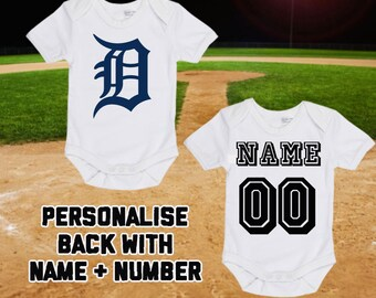 2554a562e20 MLB Detroit Tigers Personalised BabyGrow One Piece Bodysuit Vest Baseball