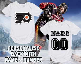 03f349434 NHL Philadelphia Flyers Personalised BabyGrow One Piece Bodysuit Vest Hockey