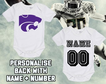 b388c874735 NCAAF Kansas State Wildcats Personalised BabyGrow One Piece Bodysuit Vest College  Football