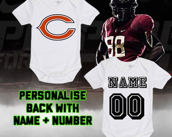 9063efaf1d9 NFL Chicago Bears Personalised BabyGrow One Piece Bodysuit Vest Football