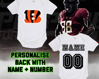 24f08b9ff NFL Cincinnati Bengals Personalised BabyGrow One Piece Bodysuit Vest  Football