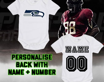 61dee9a6592 NFL Seattle Seahawks Personalised BabyGrow One Piece Bodysuit Vest Football