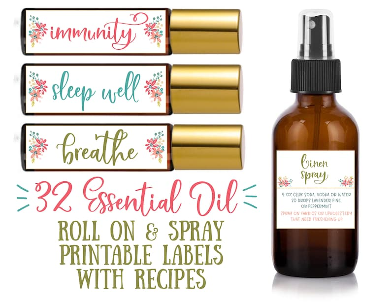 32 Printable Essential Oil Roll-On & Spray Bottle Recipes - essential oil  roller labels, labels for handmade items, young living