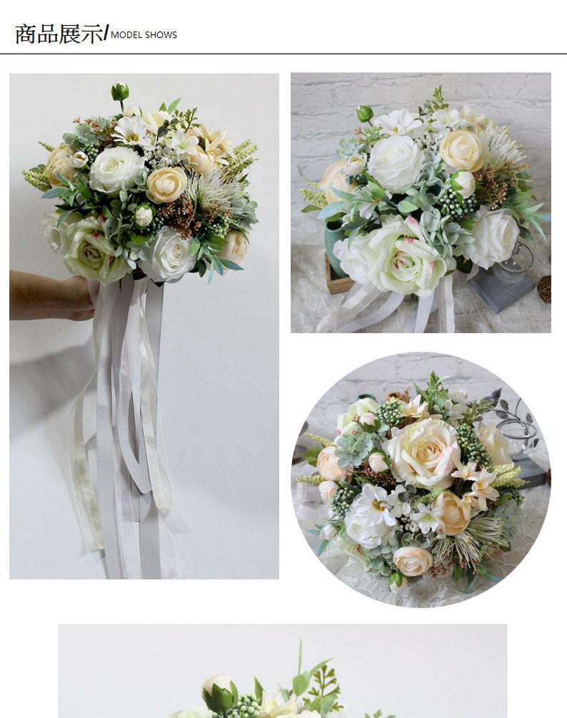 white+green burry bridal bouquet-homewedding decoration New UNIQUE hot sale artificial flowers-bride handhold flower