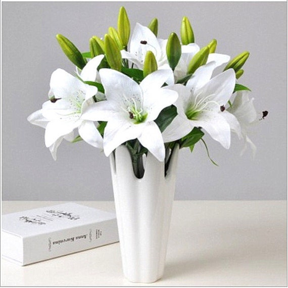 Artificial Easter Lily Spray White 80cm//31.5 Inches