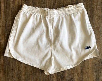 b6c03438116 White Vintage High Waisted 1970's IZOD LACOSTE for girls Preppy Hot Pants  Tennis Track Shorts