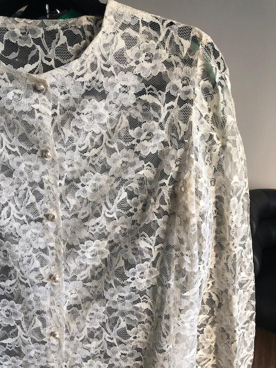 Vintage 1960's-1970's Floral Lace Cover Button Up… - image 4