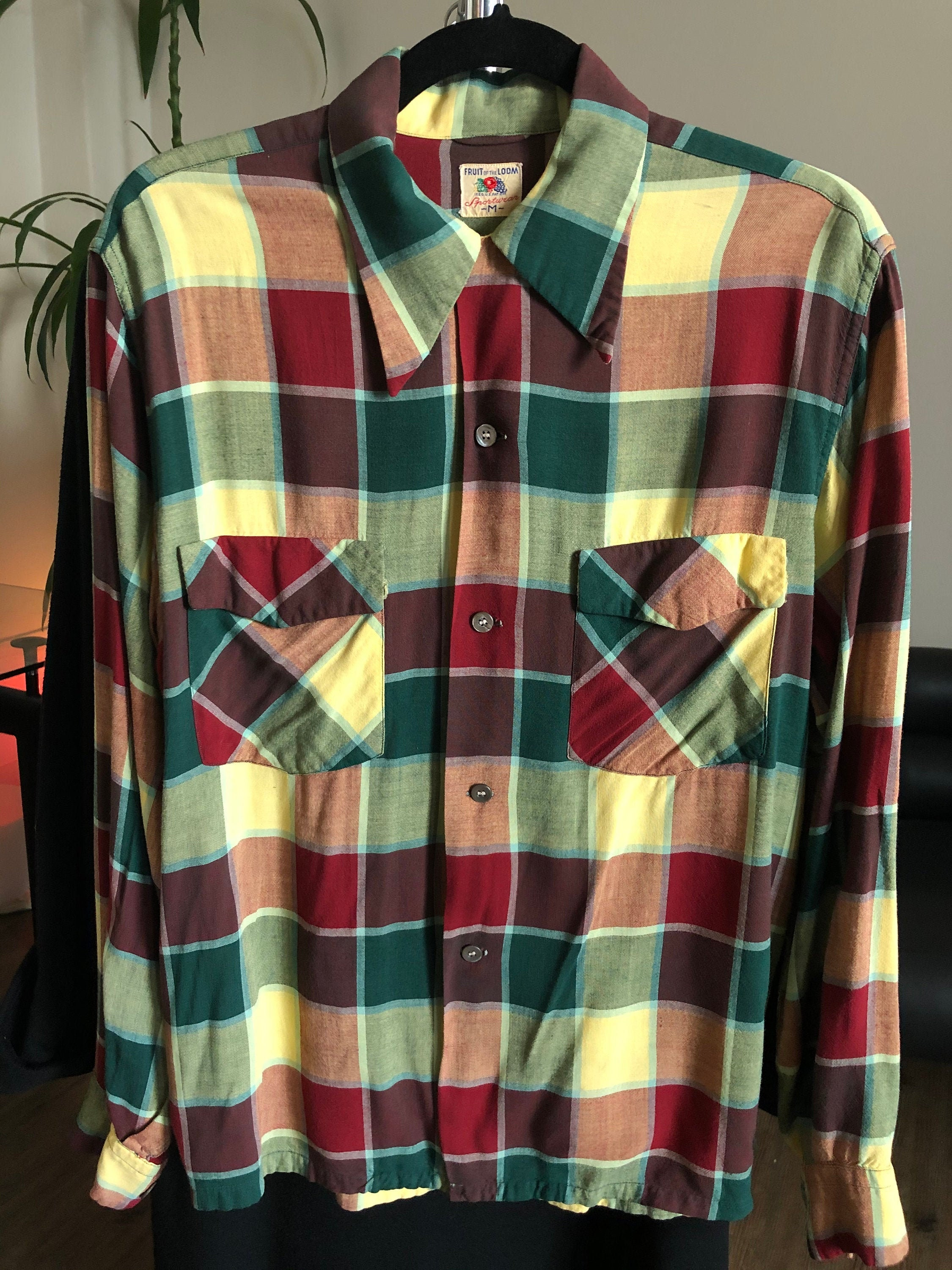 1940s Men's Shirts, Sweaters, Vests Vintage 1940s Fruit Of The Loom Sportswear Colorful Checker Button Up Long Sleeve Shirt $0.00 AT vintagedancer.com