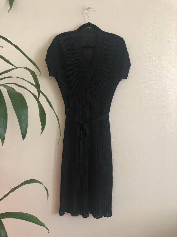 Vintage 1940's Black Knit Belted Dress