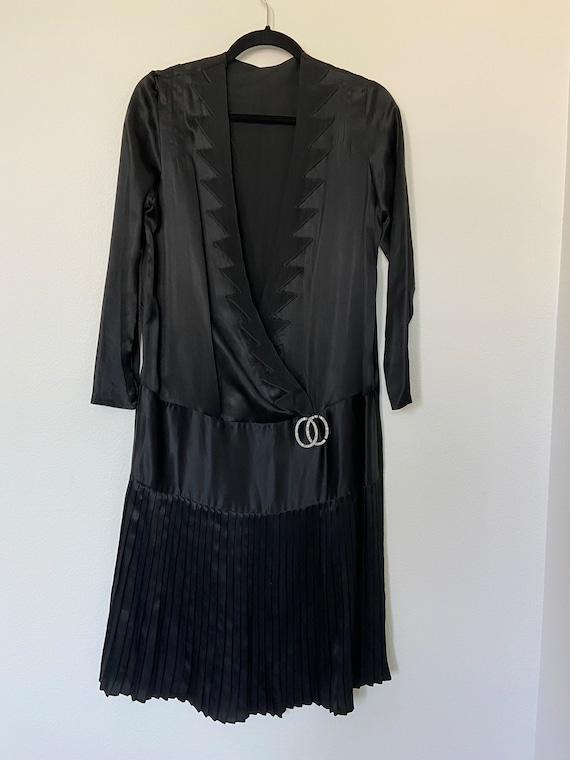 Vintage 1930's Black Silk Dress