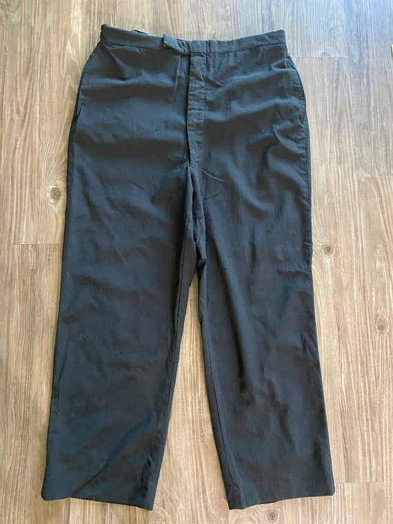 Vintage Trouser Pants with Leather Suspender Patch