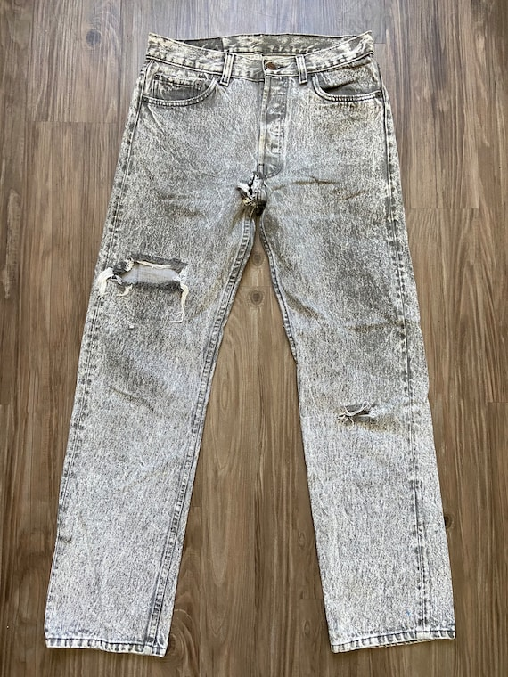 Vintage Levi's Black 501 Distressed Holy Denim Jea