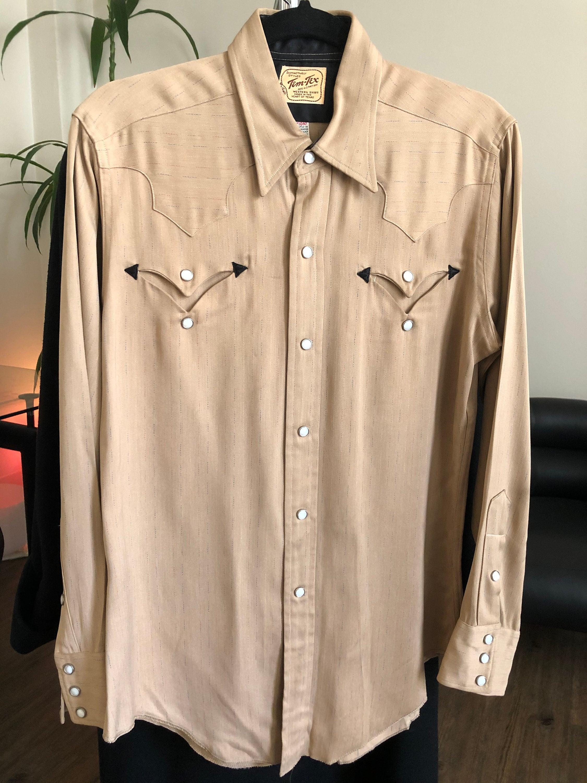 1940s Men's Shirts, Sweaters, Vests Rare Vintage 1940s Tem-Tex Cowboy Western Wear Long Sleeve Shirt W. Pearl Snaps $1,500.00 AT vintagedancer.com