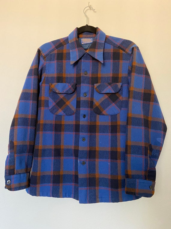 Vintage Blue Pendleton Classic Plaid Button Up Fla