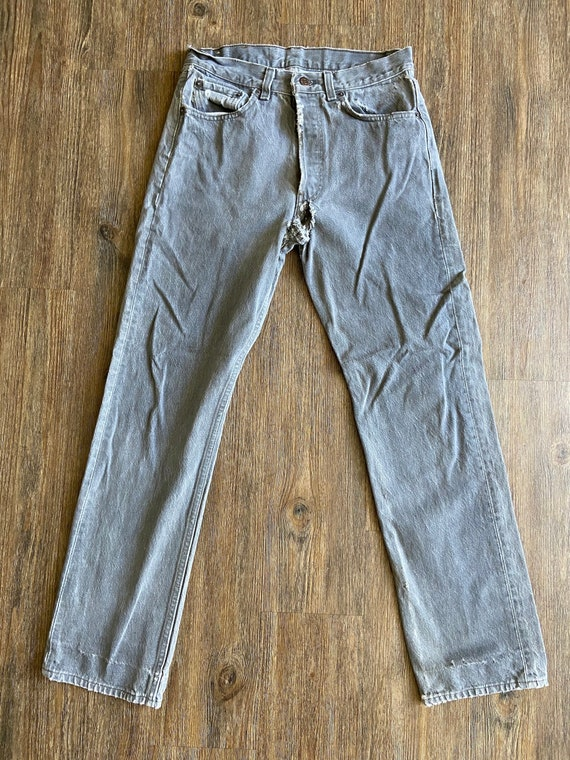Vintage 501 Levi's Light Wash Black Denim Jeans