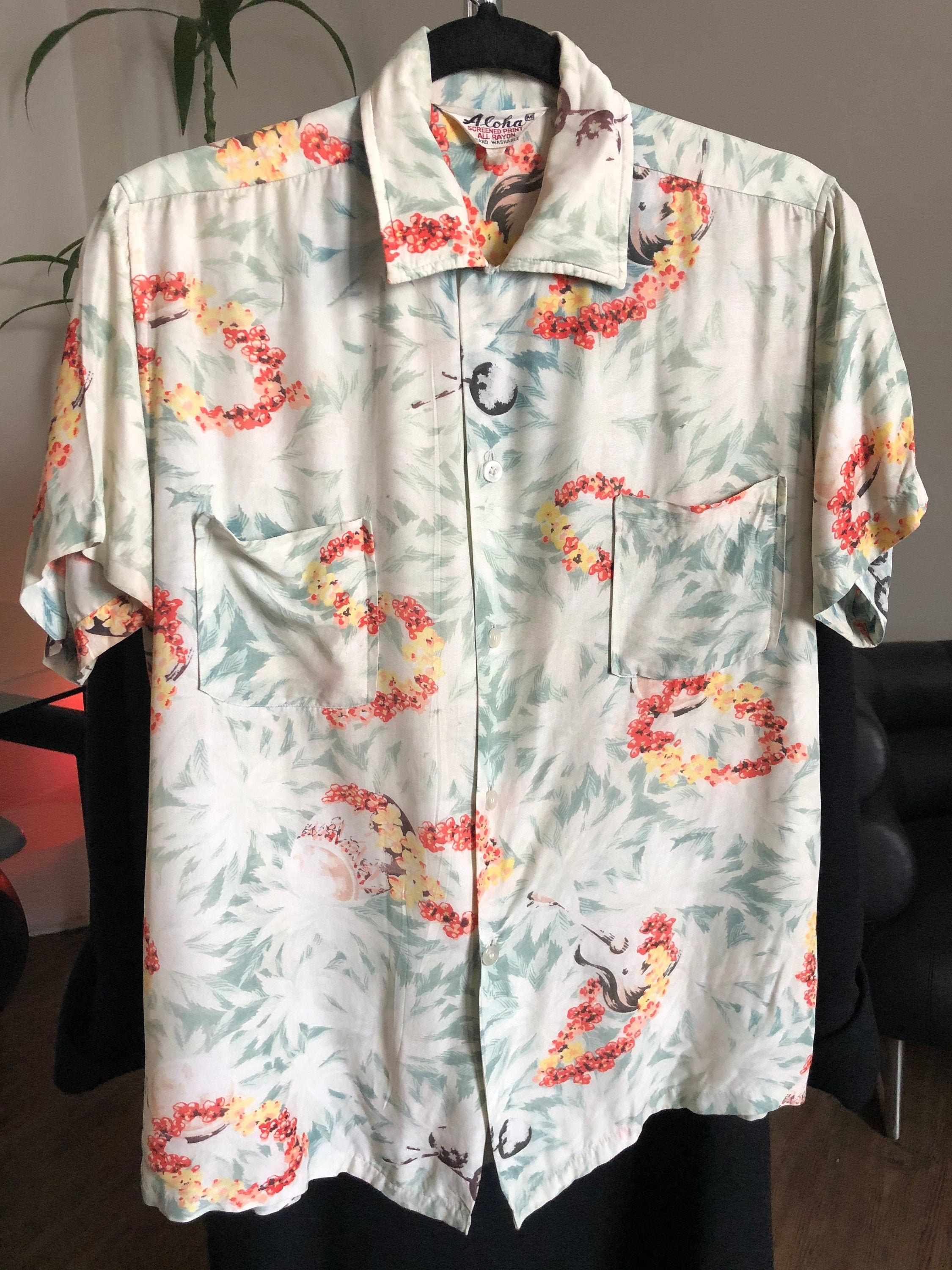 1940s Men's Shirts, Sweaters, Vests Vintage 1940s-1950s Aloha Lei Luau Hawaiian Rayon Shirt $0.00 AT vintagedancer.com