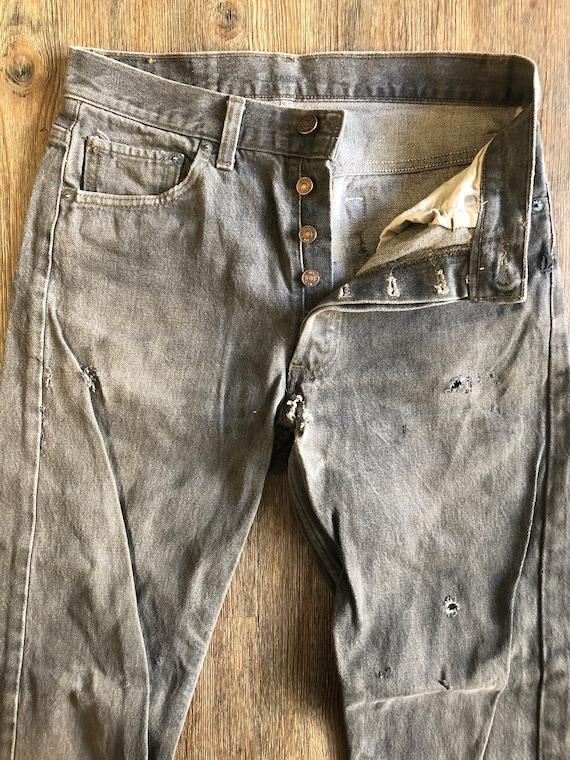 Vintage 501 Levi's Black Denim Button Up Jean Pant
