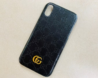 af8fa6272c53 NEW Gucci GG Black Leather Look Metal Emblem phone 7 , 8 , x , Xs, Xr, Max  , Plus iphone Samsung Case Cover