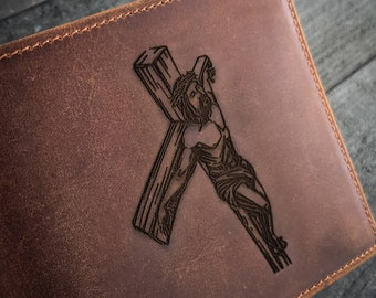 Custom Distressed Crucifix Cross Solid Brushed Stainless Steel Silver Cash Money Clip Holder  Badge  Insignia  Wallet  Symbol