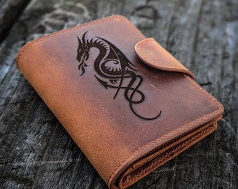 Mens and womens wallet leather, personalized gift for him or her, dragon father's day gifts