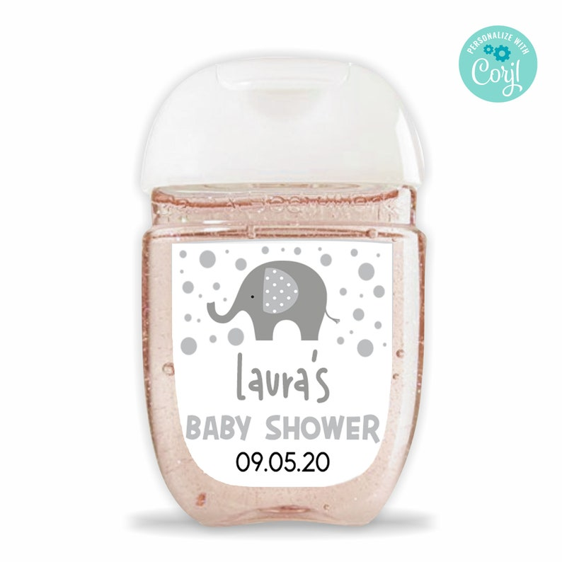 Editable Gray Elephant Themed Hand Sanitizer Bottle Label Baby Shower Hand Sanitizer Labels For Bath /& Body Works Pocketbac Bottle