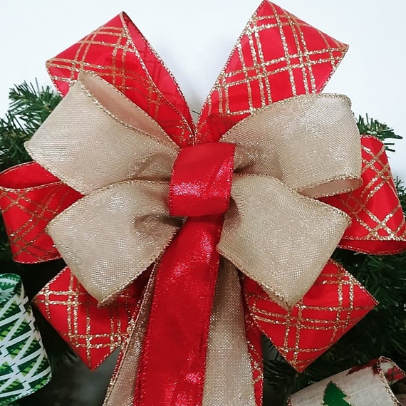 Christmas Bow Mailbox Bow Winter Bow Lantern Bow Wreath Bow Red and Gold Tree Topper