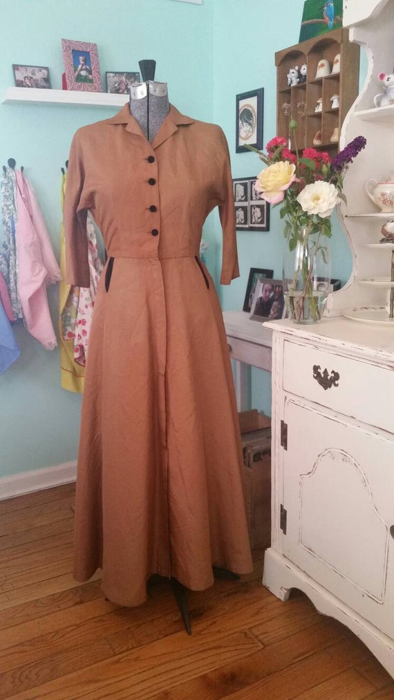 Vintage 1940s Betty Baxley dress / vintage fall dr