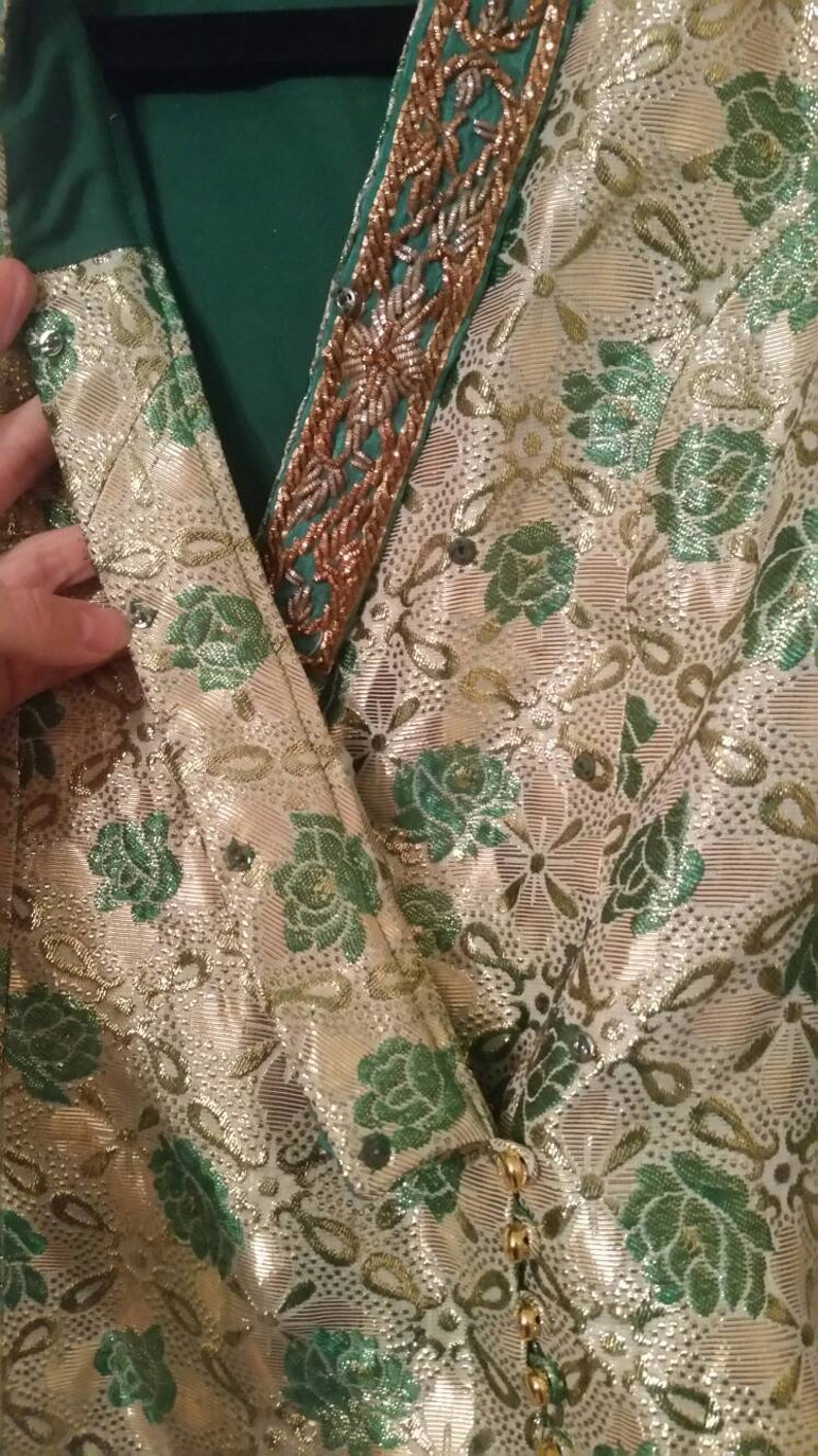 Vintage 50s gold and green jacket  vintage 50s party jacket  vintage floral jacket  small vintage jacket