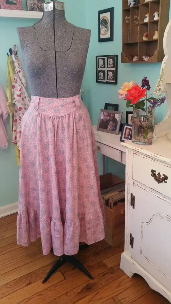Vintage Gunne Sax skirt / pink floral Gunne Sax sk