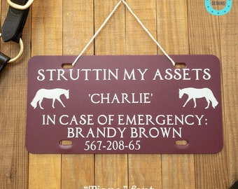 """12""""x6"""" Custom Horse Stall Sign, Personalized In Case of Emergency Equine Stall Plate, Emergency Contact Stall Sign, Horse Show Stall Sign"""