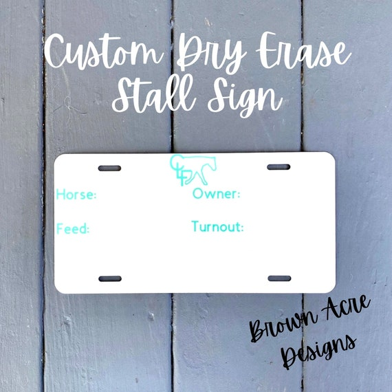 11x14 Custom Horse Stall Sign with feeding instructions on Dry Erase board in black and white vintage floral chalkboard style with ribbon