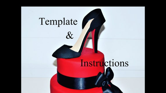 Prime High Heel Shoe Cake Topper Template Instructions Pdf Etsy Birthday Cards Printable Opercafe Filternl