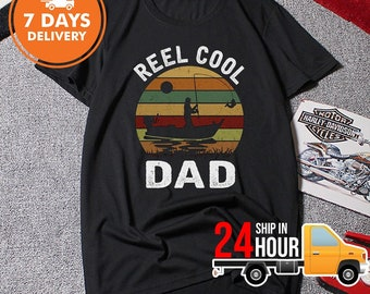 70b52095 Reel Cool Dad Shirt Fisherman Daddy T-shirt, Funny Retro Fishing Papa Tee, Father's  Day Gift Ideas From Daughter Son Wife Unisex