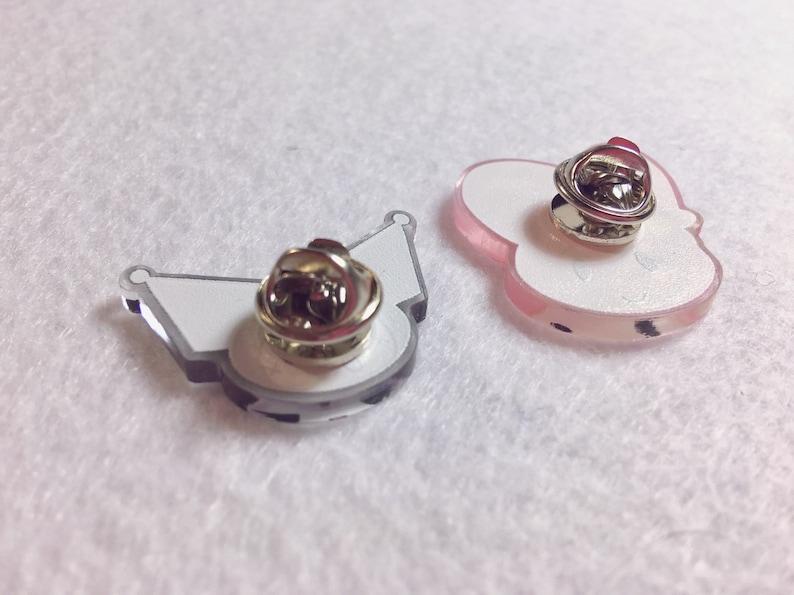 Chibi Anime Kawaii Hello Kitty My Melody and Kuromi Acrylic Pin Set || Sanrio Pinback Pastel