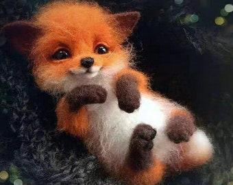 Needle felting craft kit fox Non finished Handcrafted Pocket Animal Pet Doll Toy Wool Needle Felting Kit
