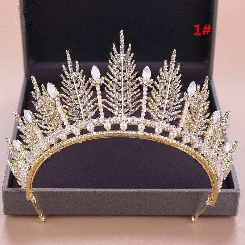 Gold Princess Crown Gold Tiara Gold Crown Gold Bridal Tiara Gold Rhinestone Wedding Tiara Princess Tiara Royal Bridal Crown