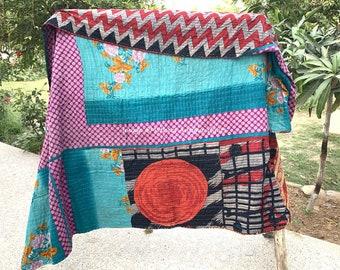 Vintage Kantha Quilt, Handmade Quilt, Bohemian Beeding, Kantha Bedspread, Cotton Blanket, Hand Stitched Throw, Antique Ralli Quilt